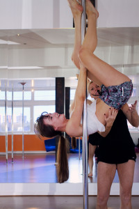 Attempting an inversion at ECN Pole Fitness Blackpool