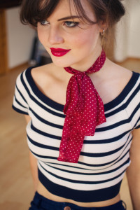Striped bardot top from Primark worn with Red spotted scarf