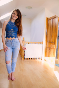 Top Shop Mom jeans with DIY rips