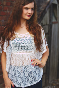 Brunette blogger wearing lacy top