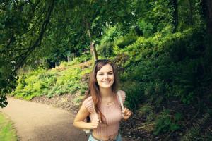 Smiling teen girl photographed in Avenham Park