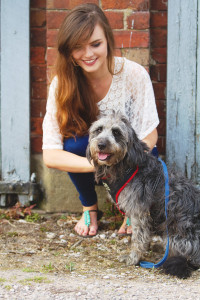 UK teen blogger with cute dog on lead
