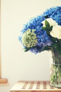 Beautiful blue hydrangea bouquet
