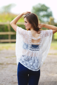 UK teen blogger wearing Apricot lace top