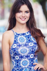 UK teen blogger wearing high neck print dress