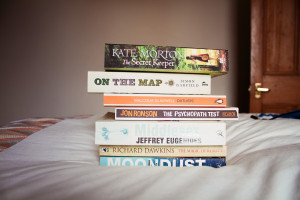 Pile of books for vacation reading