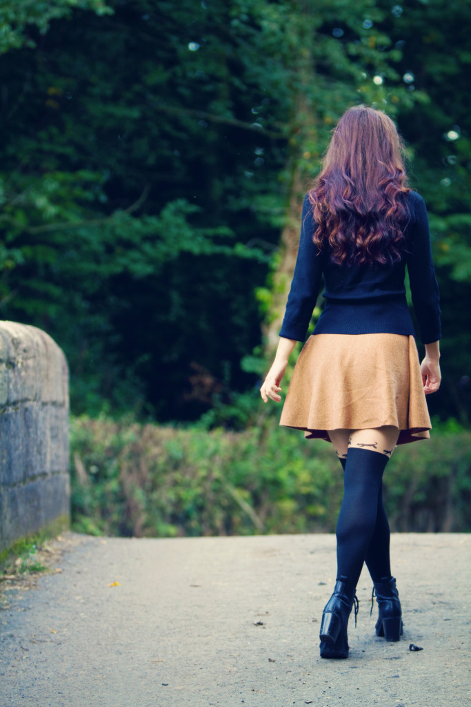 gold-coloured-skater-skirt