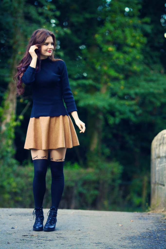 tan-skater-skirt-outfit