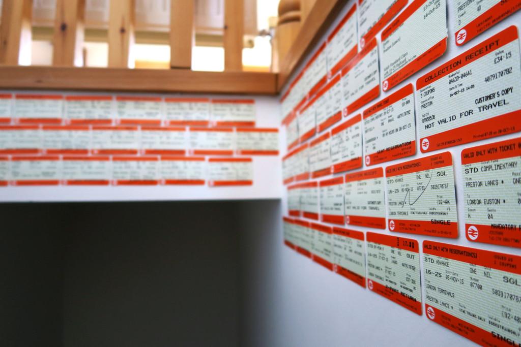 train-tickets-on-bedroom-wall