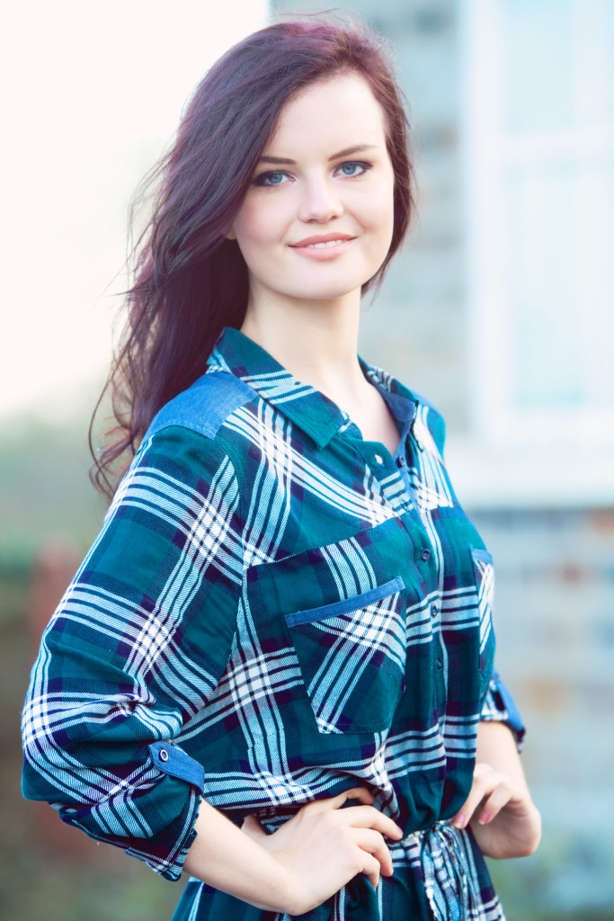 teen-wearing-check-dress