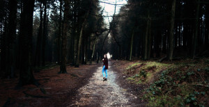 Teen girl walking at Beacon Fell lancashire UK