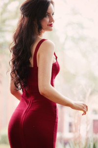 Deep red Boohoo bodycon dress