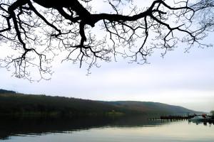 Coniston lake jetty in Cumbria UK