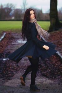 Black coat with twirly skirt