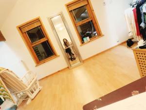 Mirror selfie taken in loft bedroom