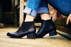 Black ankle boots with elastic inserts