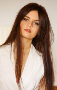 Teen girl with long straight brunette hair