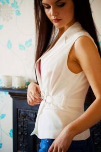 White wrapover sleeveless shirt