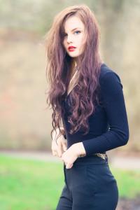 Long black wavy hairstyle