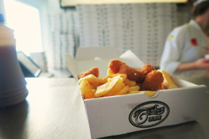 Scampi and chips from Trenchers Whitby Yorkshire