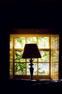 Lamp in backlit window
