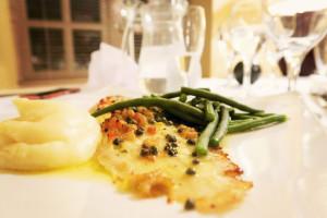 Lemon sole dinner at Ox Pasture Hall