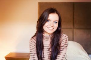 Very smiley brunette teen