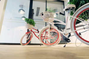 white and red bicycle