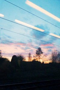 view from window of moving train