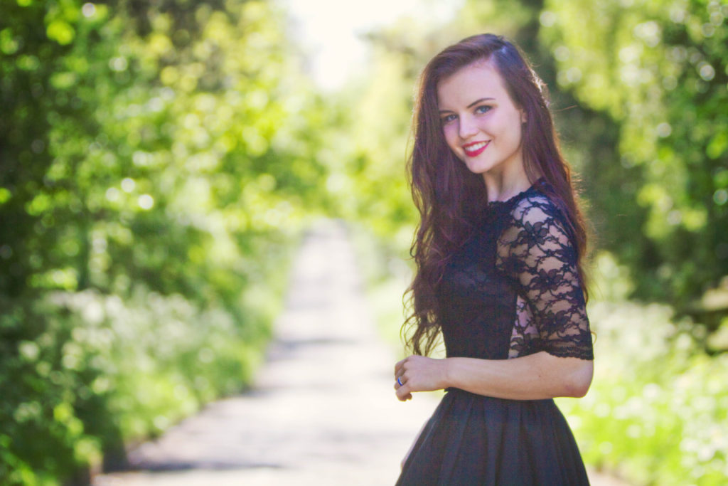 black-lace-sleeve-skater-dress