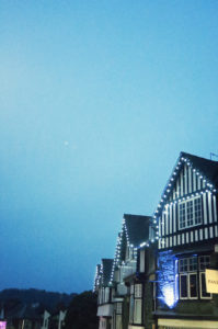 Fariy lights on building at twilight