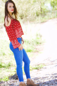 Bright blue jeans and western ankle boots