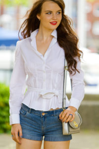 Tie waist fitted white shirt