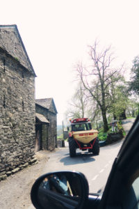 Tractor on country road
