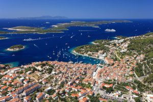 Hvar island in blue sea Croatia