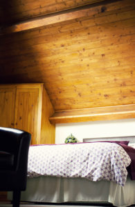 Pine sloping ceiling
