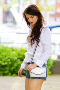 Metallic silver handbag