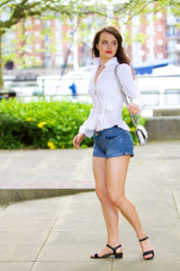 Denim shorts and black strappy sandals