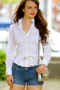 White belted fitted shirt and denim shorts