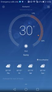 Temperature app showing 30.