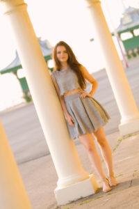 Grey lace skater style dress
