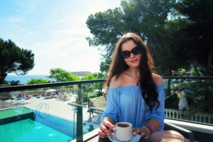 Poolside coffee. Majorca