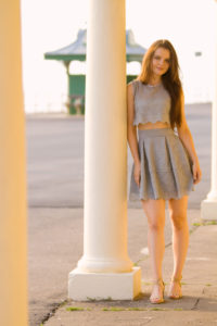 Grey lace sleeveless dress
