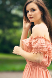 Lace Bardot top maxi dress