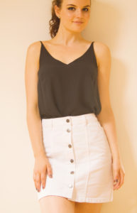 Black camisole and white denim skirt ten summer outfit