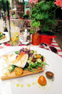 Mediterranean meal at Apostolok Restaurant, Budapest, Hungary
