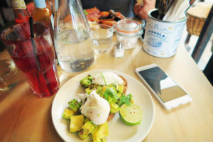 Avocado on toast at Bill's Restaurant in Liverpool England.