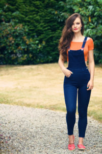 Skinny fit denim dungarees. Teen outfit.