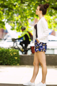 H & M cat print shorts. Teen outfit