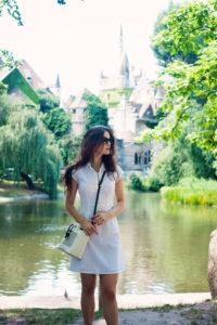 Girl wearing white dress at City Park, Budapest, Hungary